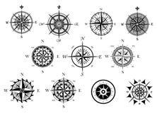 Nautyczny wiatr różany i cyrklowe ikony ustawiać Obraz Royalty Free