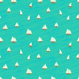 Nautyczny wzór z małymi łódkami na fala Zdjęcia Royalty Free