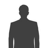 Nauwkeurig silhouet van een mens voor profielbeeld Grijs silhouet van een mens taille-diep met een keurig kapsel op wit stock illustratie