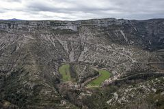 Navacelles naturalny cyrk w Hérault zdjęcia stock