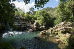 Navacelles waterfall in Gard, France royalty free stock photo