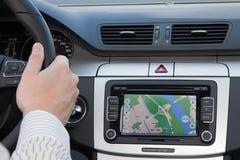 Navagation de GPS dans le véhicule de luxe Images libres de droits