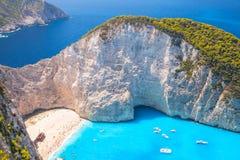 Navagio海湾,希腊 船击毁海滩 免版税库存图片