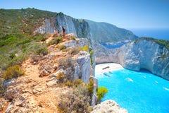 Navagio海湾,船击毁海滩 希腊 免版税库存图片