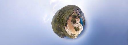 Navagio海滩全景 库存图片
