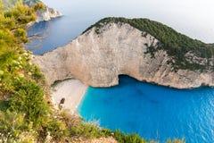 Navagio海难海滩,扎金索斯州,希腊日落视图  免版税库存图片