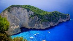 Navagio海滩-海难海滩,扎金索斯州海岛,希腊 库存图片