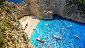 Navagio海滩,扎金索斯州海岛在希腊 免版税图库摄影