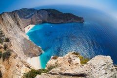 Navagio海滩,海难,扎金索斯州希腊 免版税库存照片