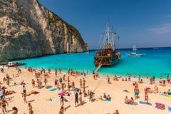 Navagio étonnant de plage chez Zakynthos Photos libres de droits