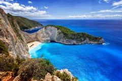 Navagio (海难)海滩在扎金索斯州海岛,希腊 库存照片