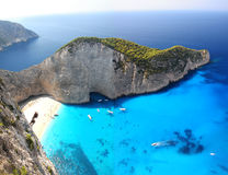 Διάσημη Navagio παραλία, Ζάκυνθος, Ελλάδα Στοκ εικόνες με δικαίωμα ελεύθερης χρήσης