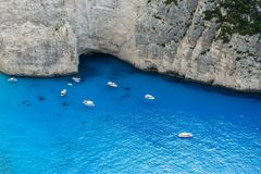 Navagio bay and Ship Wreck beach in summer. The most famous natural landmark of Zakynthos, Greece. Navagio bay and Ship Wreck beach in summer. The most famous royalty free stock photo