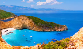 Navagio bay and Ship Wreck beach in summer. stock images