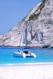 Navagio Bay - Zakynthos. Navagio - Wreck Bay on Zakynthos Island - Greece. Blue sea, rocks, yacht and white sandy beach. Holidays with Fostertravel.pl Royalty Free Stock Photography
