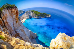 Navagio Bay Zakynthos. Shipwreck beach view from above. Fisheye. Panoramic shot, HDR effect. Clear water, no boats Stock Images