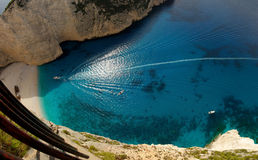 Navagio Beach. A birdseye view of the beautiful Navagio (meaning shipwreck) beach in Greece stock photography