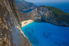 Navagio beach in Greece island Zakynthos. Zakynthos Greece. Vacation and Tourism concept. Most popular bay in the world. Famous place Royalty Free Stock Photo