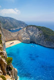 Navagio beach in Greece island Zakynthos Stock Photography