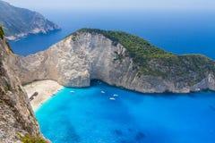 Navagio beach in Greece island Zakynthos Stock Photo