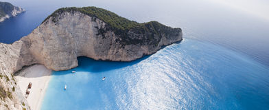 Navagio Beach Ionian Sea. Aerial photograph of the Shipwreck of the Navagio Beach of Zakynthos in Ionian Sea Stock Images