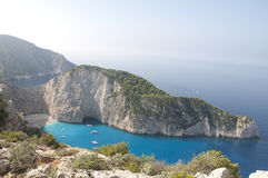 Navagio Beach Ionian Sea. Photograph of the Shipwreck of the Navagio Beach of Zakynthos in Ionian Sea Stock Photography