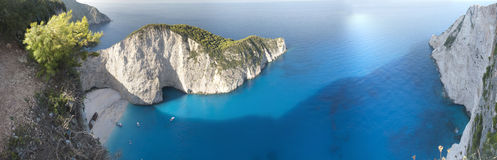 Navagio Beach Ionian Sea. Panorama of the Shipwreck of the Navagio Beach of Zakynthos in Ionian Sea Stock Photography