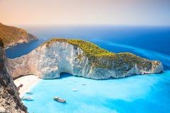 Navagio beach, landmark of Zakynthos Stock Photo