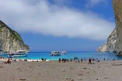 Navagio Beach - Zakynthos Island, landmark attraction in Greece. Ionian Sea. Seascape Stock Images