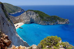 Summer landscape. Navagio Beach and Ionian Sea - Zakynthos Island - landmark attraction in Greece. Seascape. Summer landscape with Navagio Beach in background stock photography