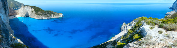 Navagio beach panorama (Zakynthos, Greece) Royalty Free Stock Image