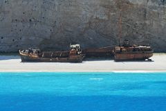 Navagio Beach with rusty old wrecked ship in Zakynthos Greece Royalty Free Stock Photography