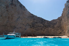 Navagio beach. Ship wrecked on the beach Navagio in Zakynthos royalty free stock photos