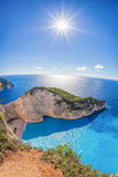 Navagio beach with shipwreck against sunset on Zakynthos island in Greece Royalty Free Stock Image