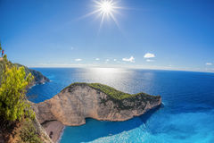 Navagio beach with shipwreck against sunset on Zakynthos island in Greece Royalty Free Stock Photography