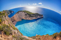 Navagio beach with shipwreck against sunset on Zakynthos island in Greece Royalty Free Stock Photo