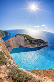 Navagio beach with shipwreck against sunset on Zakynthos island in Greece Royalty Free Stock Images