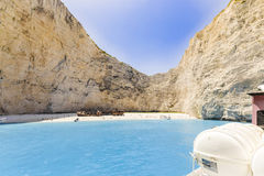 Navagio beach with shipwreck Royalty Free Stock Image