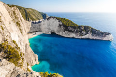 Navagio beach with shipwreck Stock Photography