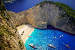 Navagio Beach - Shipwreck Beach, Zakynthos Island, Greece Stock Images