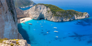 Navagio beach from  Shipwreck cliff view in Zakynthos Zante is Royalty Free Stock Photo