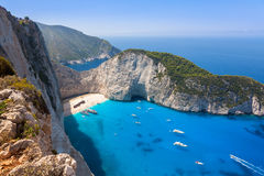 Navagio beach from  Shipwreck cliff view in Zakynthos Zante is Royalty Free Stock Images