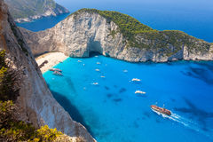 Navagio beach from  Shipwreck cliff view in Zakynthos Zante is Stock Photography