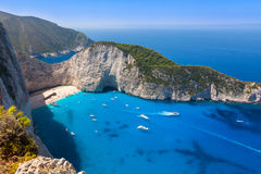 Navagio beach from  Shipwreck cliff view in Zakynthos Zante is Stock Photos