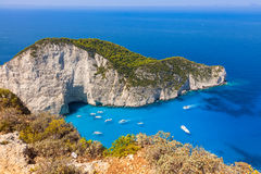 Navagio beach from  Shipwreck cliff view in Zakynthos Zante is Stock Image