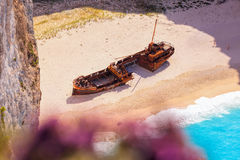 Navagio beach with shipwreck and flowers on Zakynthos island in Greece Royalty Free Stock Images