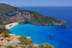 Summer landscape. Navagio Beach - Zakynthos Island, landmark attraction in Greece. Ionian Sea. Seascape Royalty Free Stock Images