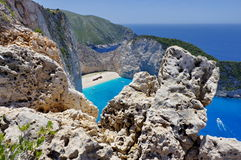 Navagio Beach with shipwreck Royalty Free Stock Images