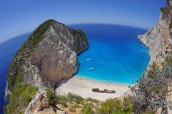 Navagio Beach - Zakynthos Island, landmark attraction in Greece. Summer landscape. Ionian Sea. Seascape Stock Photos