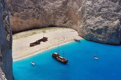Summer landscape. Navagio Beach and Ionian Sea - Zakynthos Island, landmark attraction in Greece. Seascape Stock Images